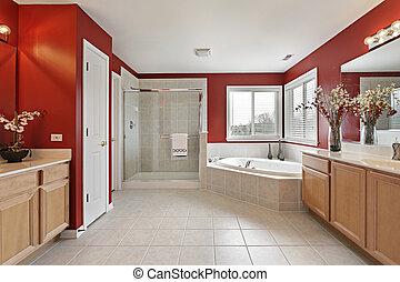 paredes, maestro, rojo, baño