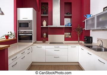 paredes, moderno, rojo, cocina