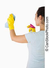 paredes, mujer, limpieza