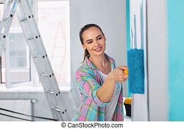 paredes, mulher, quadro, jovem, sorrindo