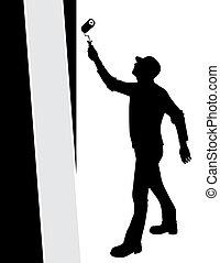 paredes, vector, pintura, hombre