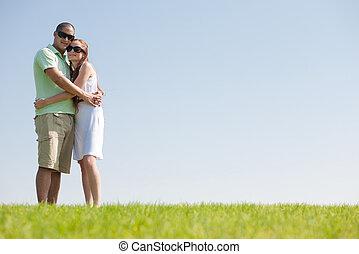 pareja, abrazo, amor