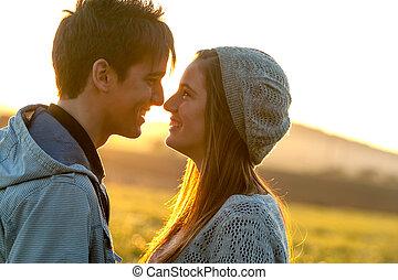 pareja, actuación, romántico, cariño, sunset.