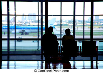 pareja, aeropuerto