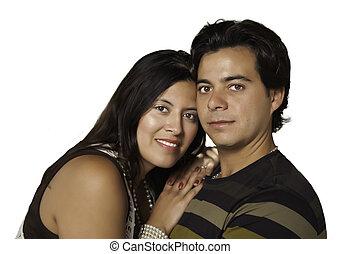 pareja, aislado, hispano, atractivo, retrato, blanco