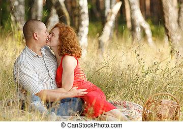 pareja, al aire libre, joven