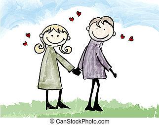 pareja, amante, feliz, ilustración, fechando, caricatura