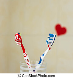 pareja, amor, dos, toothbrushes.