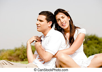 pareja, amor, exterior, juntos, sentado