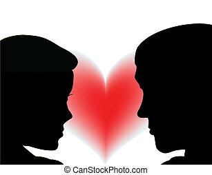 pareja, amor, gente, con, heart., vector