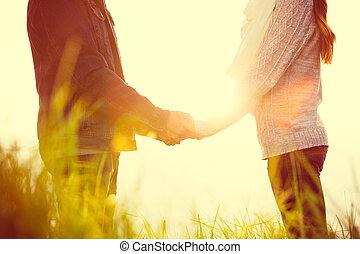 pareja, amor, joven