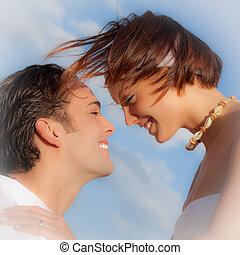 pareja, amoroso, feliz