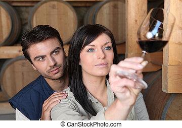 pareja, analizar, un, vino