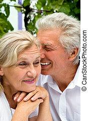 pareja, anciano, agradable