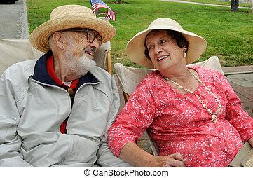 pareja, anciano, amoroso