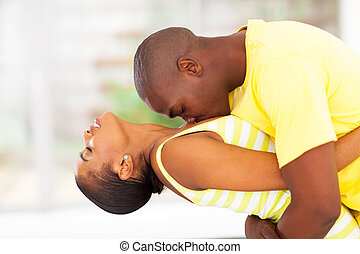 pareja, apasionado, africano
