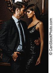 pareja, apasionado, elegante