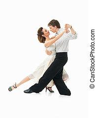 pareja, apasionado, fondo blanco, bailando