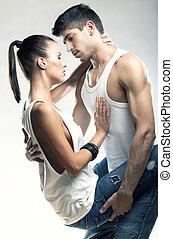 pareja, apasionado, heterosexual