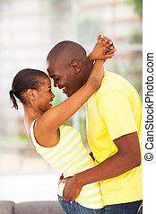 pareja, apasionado, joven, africano