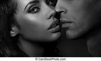 pareja, arriba, negro, cierre, retrato, blanco, amoroso