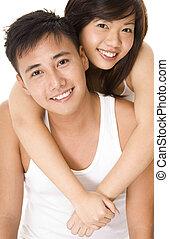pareja, asiático, 3