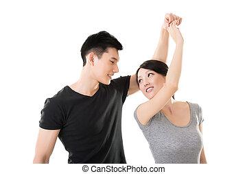 pareja, asiático, bailando