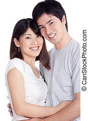 pareja, asiático, joven