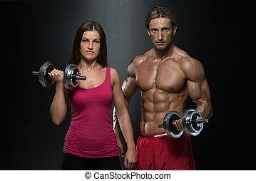 pareja, bíceps, ejercicio, condición física