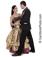 pareja, baile espacio pelota