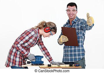 pareja, banco de trabajo, trabajando