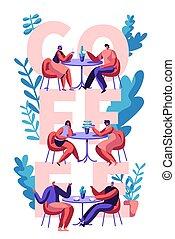 pareja, bebida, café, motivación, tipografía, poster., hombre y mujer hablar, en, mesa café, en, publicidad, banner., amor, compañeros, escena, para, cafetería, impresión, aviador, plano, caricatura, vector, ilustración