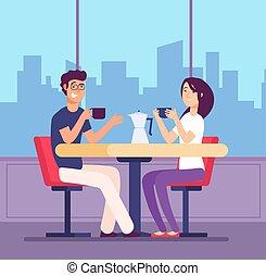 pareja, bebida, coffee., coquetear, mujer y hombre, en la mesa, con, coffe, tazas, en, cafe., romántico, fecha, vector, concepto