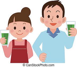 pareja, bebida, jugo vegetal