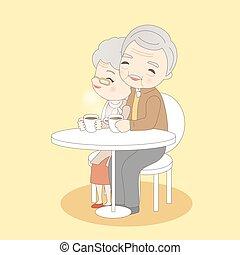 pareja, bebida, viejo, café