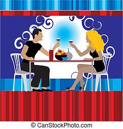 pareja, bebida, vino, restaurante