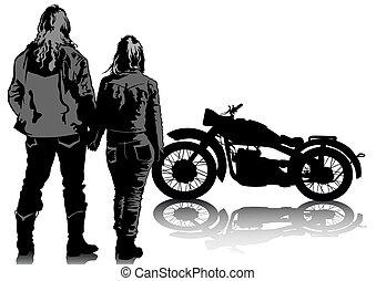 pareja, bicicleta, retro