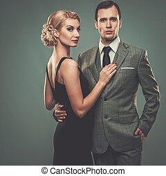 pareja, bien vestido, retro