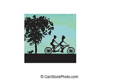 pareja, biking, en la ciudad