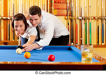 pareja, billiard, pericia, juego, profesor
