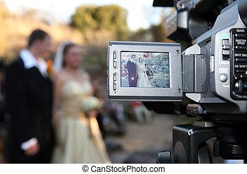 pareja, cámara, boda