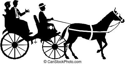 pareja, caballo, carruaje
