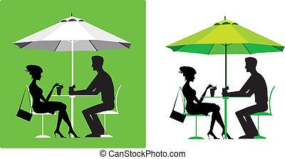 pareja, café al aire libre