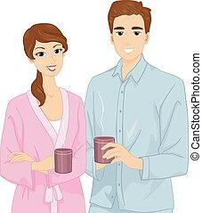 pareja, café matutino, pijama