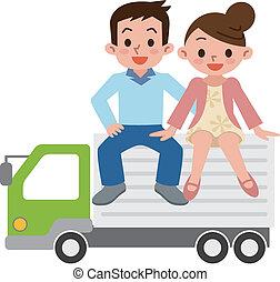 pareja, camión, feliz