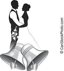 pareja, campana de plata