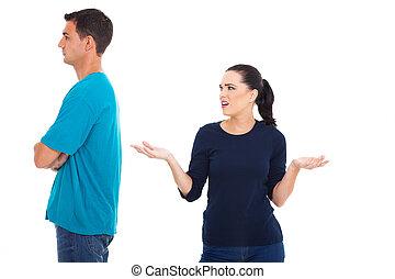 pareja, casado, argumento, teniendo