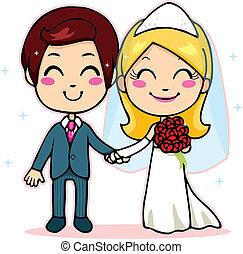 pareja, casado, manos de valor en cartera