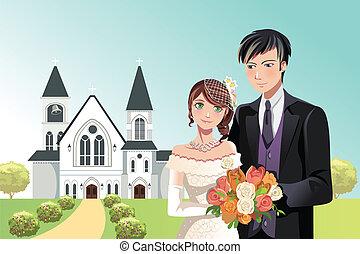 pareja, casado, obteniendo