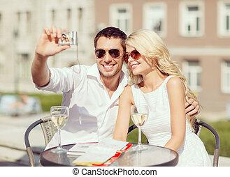 pareja, cautivadora foto, en, café